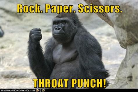 Funny Gorilla Meme - tuesday throat punch the bump