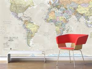 Wall Mural Maps Giant Classic World Map Mural By Maps International