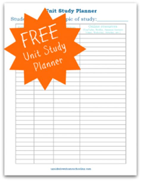 free printable unit study planner homeschool weekly lesson planner unit study planner