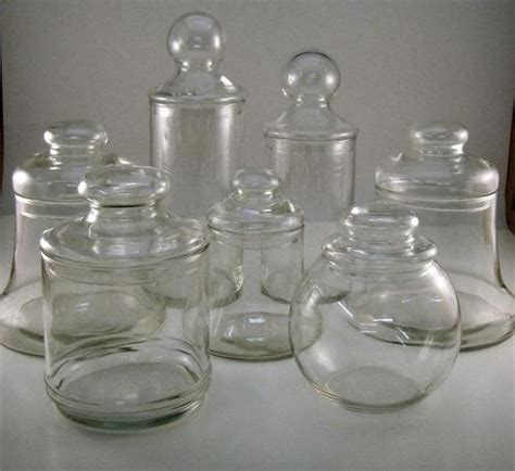Lot Of 7 Vintage Glass Apothecary Jars Candy Wedding Apothecary Jars For Buffet