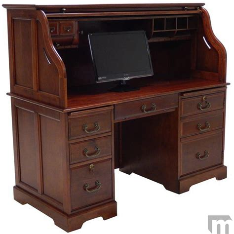 roll top computer desk 59 quot w cherry roll top computer desk in stock