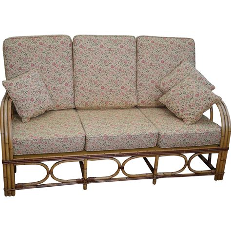 antique split reed rattan bamboo sofa from bucks county