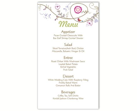 Wedding Menu Template Diy Menu Card Template Editable Text Word File Instant Download Bird Menu Wedding Menu Template Free Word