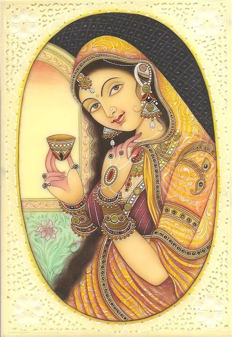 Handmade Portraits - indian miniature painting kashmir handmade faux ivory