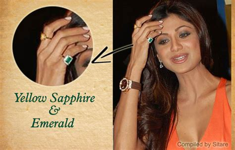 shilpa shetty wearing yellow sapphire emerald gemstone