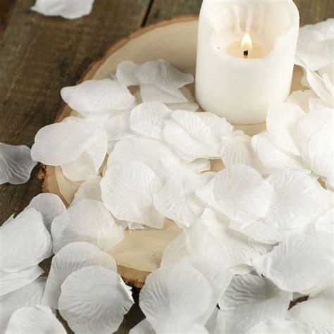 White Artificial Rose Petals   Silk Leaves   Rose Petals