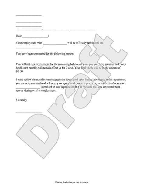termination letter format free word templates employee inside