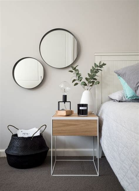minimalist bedside table bedside table drop in round mirrors monochrome and