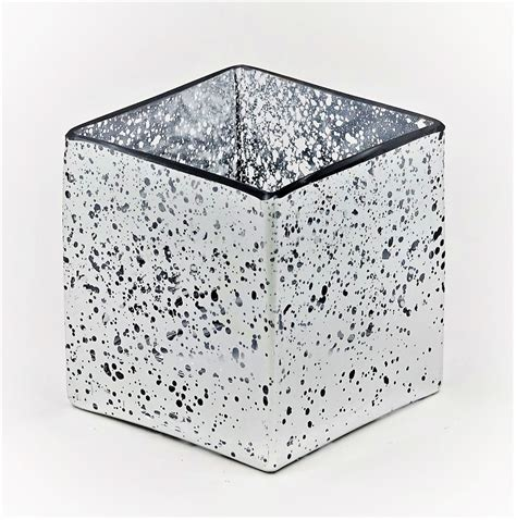 Silver Square Vase by 4 Quot Mercury Silver Square Vase