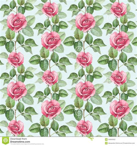 watercolor roses pattern watercolor rose illustration stock illustration
