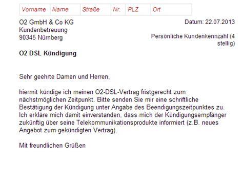 Musterbrief Kündigung Handyvertrag O2 O2 Dsl K 252 Ndigung Vorlage Chip