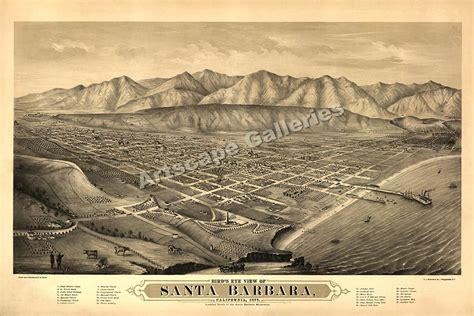 santa barbara on map of california bird s eye view 1877 santa barbara ca map 24x36 ebay