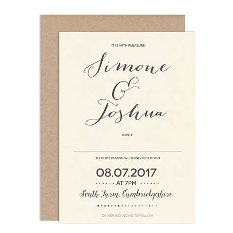 modern calligraphy wedding invitation by russet and gray notonthehighstreet