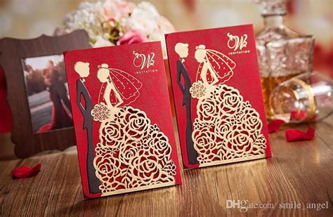 wedding invitation cards designs in kenya 2018 new personalized wedding invitations cards color with hollow lace gold dress bridal and