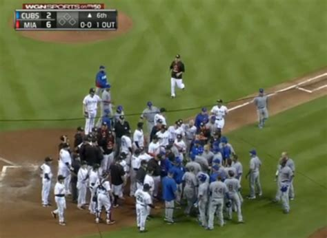 cubs bench cubs and marlins benches clear 2015 1 blacksportsonline
