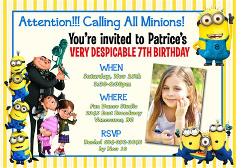 minions birthday invitation card template despicable me 2 minions custom birthday invitation