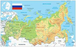 map of russia with cities rivers and mountains russia physical map by cartarium graphicriver