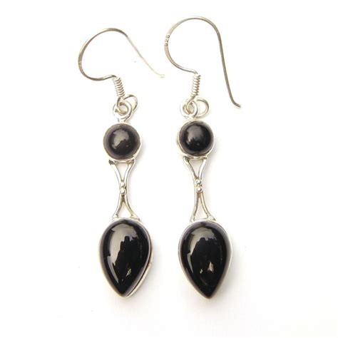 black onyx goddess earrings silver jewellery cavern