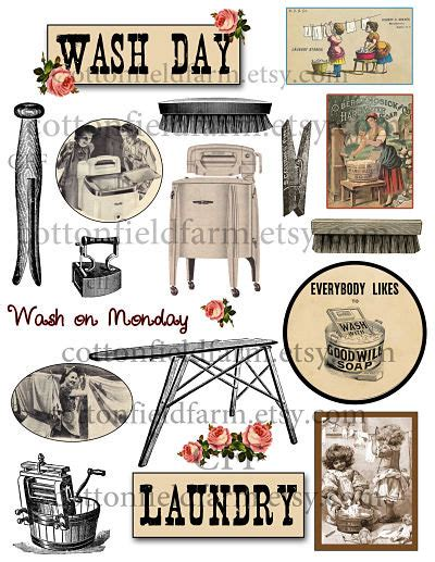 Vintage Laundry Wash Day Clip Art C 321 For Scrapbooking Vintage Laundry