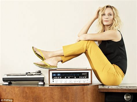 Uma Thurman 46 Shows Off Lean Legs During Fitflop S