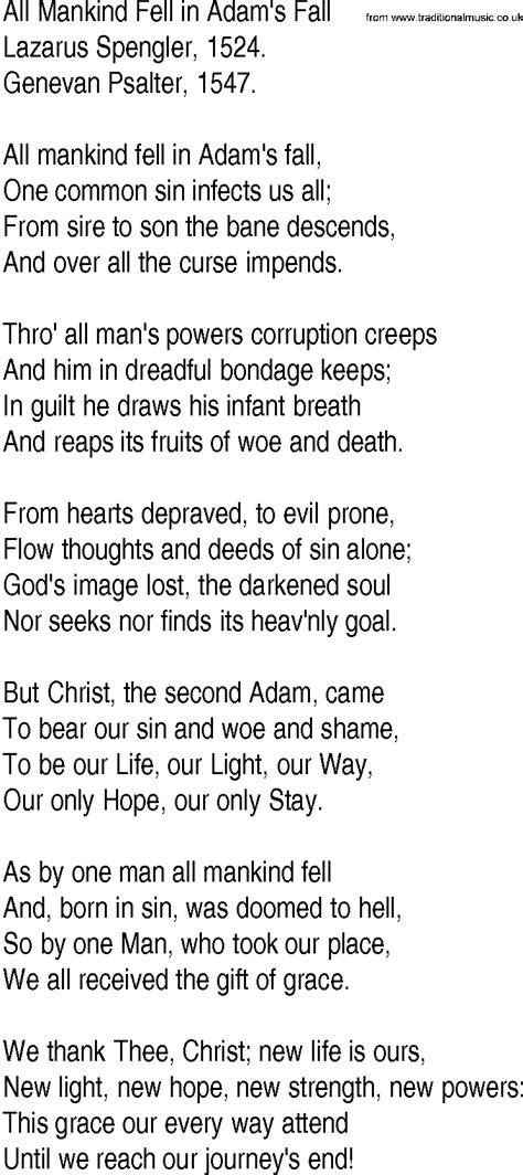 lyrics by mankind hymn and gospel song lyrics for all mankind fell in adam s