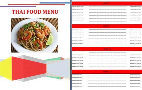 Thai Food Menu Template By Formsword Thai Restaurant Menu Templates Free