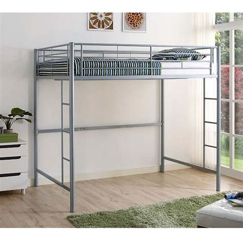 walker edison steel full size loft bed silver bdolsl