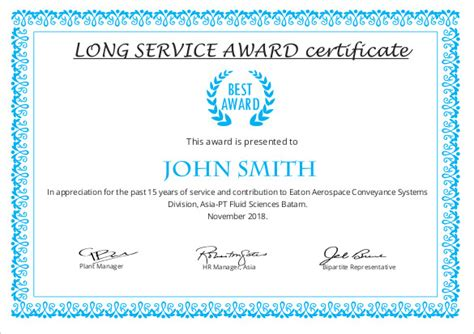 certificate of long service award sle certificate pacq co