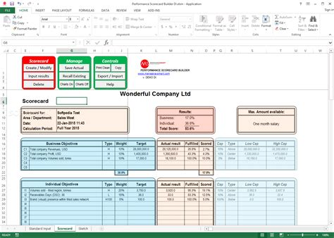 performance scorecard template employee performance scorecard template