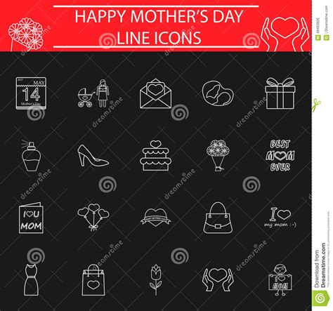 s day last line set of s day icons stock vector illustration of