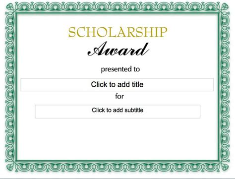 free templates for scholarship awards scholarship certificate download free premium