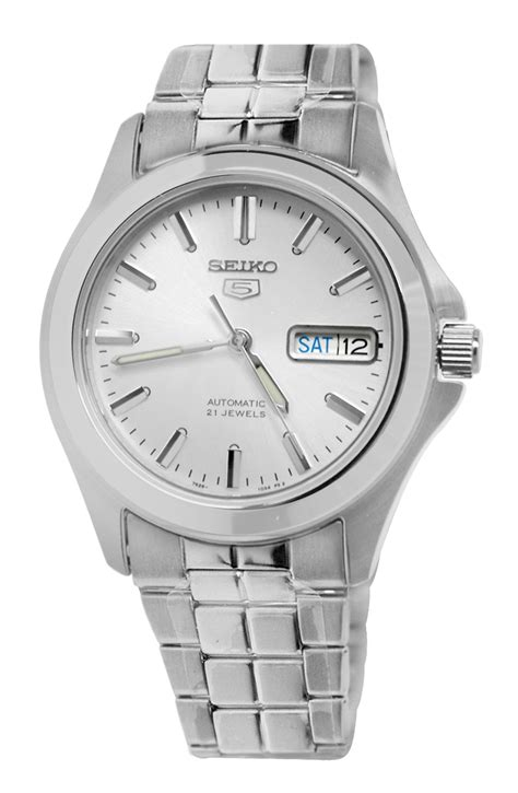 Seiko 5 Snkn56k1 Automatic Silver Gold Bezel Stainless Steel Brac seiko 5 automatic snkk87 day date silver stainless steel bracelet new