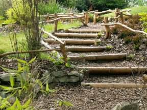 Wood Outdoor Stairs Design Wooden Outdoor Stairs And Landscaping Steps On Slope