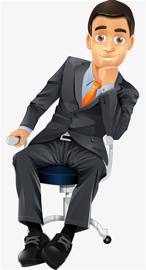 Creative Invitation by Hand Painted Cartoon Business Man Sitting On A Chair