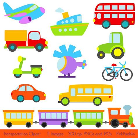 Transport Clipart transportation clip clipart with car truck helicopter plane boat scooter