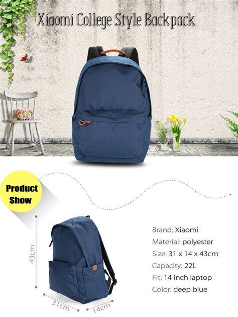 Xiaomi Mi 14 Inch Style Backpack Leisure Sports Bag Grey wholesale original xiaomi 14 inch college style polyester backpack leisure sports bag blue
