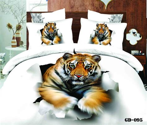 white tiger bed set 3d white tiger animal print bedding set california king size duvet cover bed in a bag