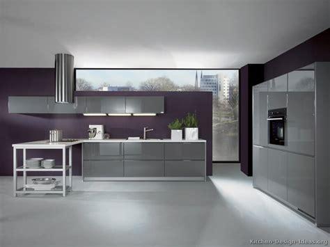 Marvelous Modern Gray Kitchen Cabinets #1: Kitchen-cabinets-modern-gray-004-A029a-peninsula-hood-purple-wall-white-ceiling-gray-floor.jpg