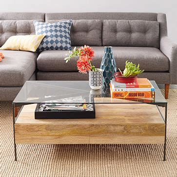 West Elm Glass Coffee Table Box Frame Coffee Table Glass Antique Bronze Steel Frame Storage And Coffee