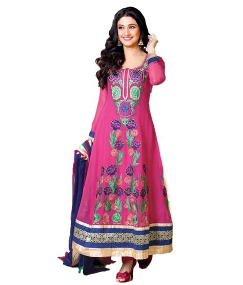rani pink colour admyrin pink chiffon unstitched dress material buy