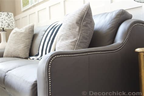grey leather nailhead sofa the new living room sofa decorchick