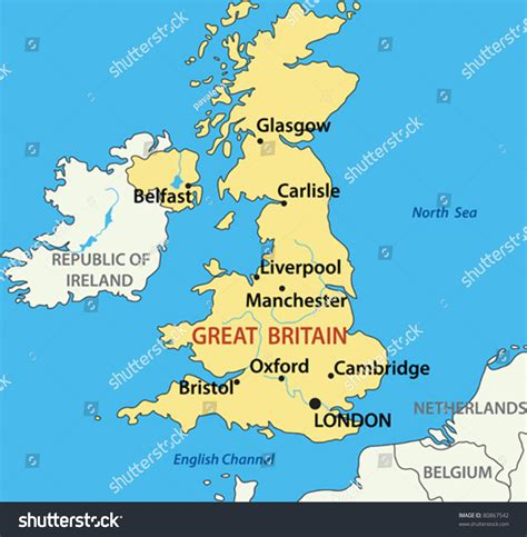 Great Britain Address Lookup Map Of The United Kingdom Of Great Britain And Northern Ireland Stock Vector