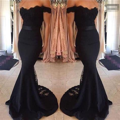 black prom dresses mermaid lace   shoulder bodycon