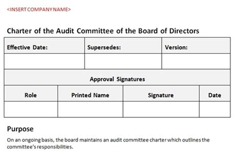 charter template for a committee audit committee charter board of directors accounting template
