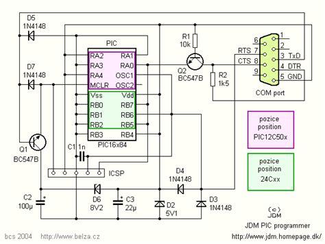 jdm programmer circuit diagram jdm pic programmer