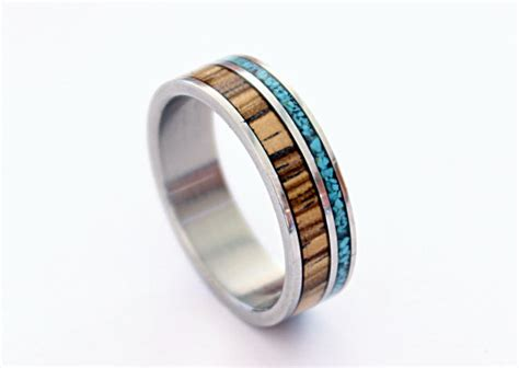 titanium ring turquoise ring wood ring wooden ring with