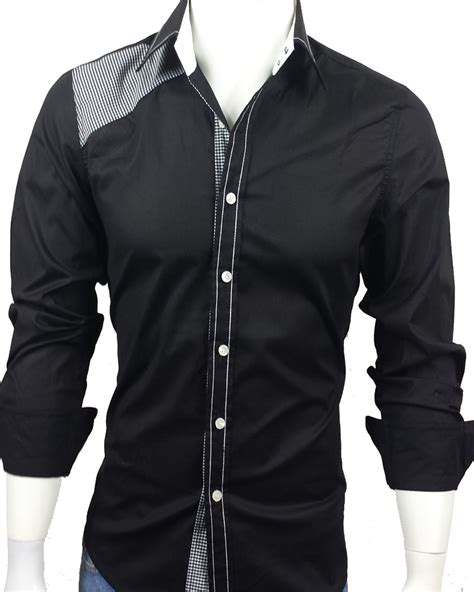 men  casual long sleeve dress shirt black  checks