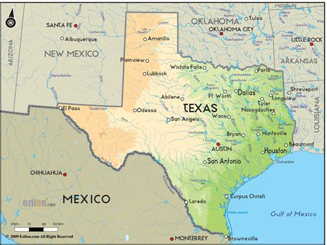 texas on map geographical map of texas and texas geographical maps