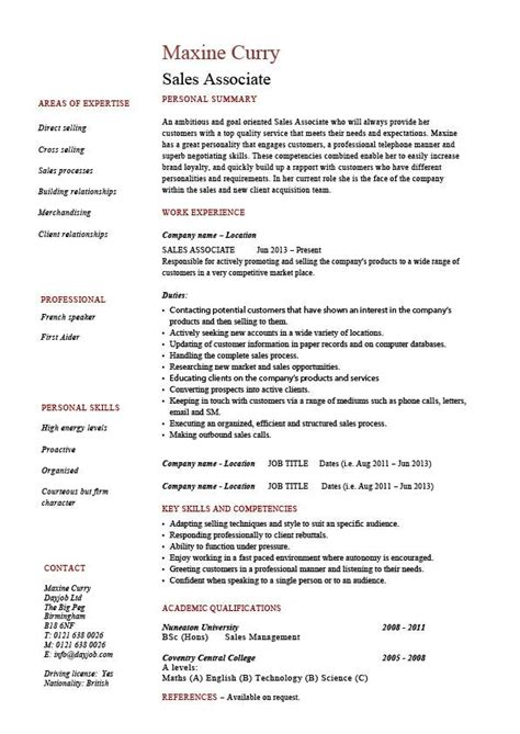 Resume Sles Experienced Sales Associate Resume Skills Personal Summary And Work Experience