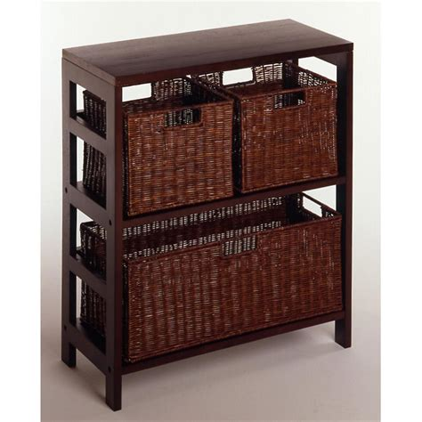 winsome 174 leo storage shelf with 3 baskets 151428
